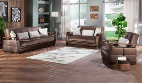 Istikbal Natural Convertible Living Room Set in Prestige Brown