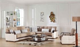 Istikbal Natural Convertible Sectional Sofa in Naomai Light Brown