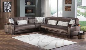 Istikbal Natural Convertible Sectional Sofa in Prestige Brown