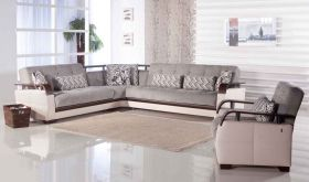 Istikbal Natural Convertible Sectional Sofa in Valencia Grey