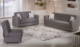 Istikbal Tokyo Convertible Living Room Set in Diego Grey