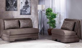 Istikbal Twist Convertible Living Room Set in Astoral Light Brown