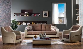 Istikbal Ultra Convertible Living Room Set in Optimum Brown