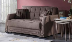 Istikbal Valerie Convertible Sleeper Loveseat in Redeyef Brown