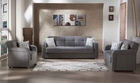 Istikbal Vision Convertible Living Room Set in Diego Grey