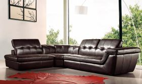 J&M 397 Italian Leather Sectional Sofa with Ottoman in Chocolate with Left Facing Chaise