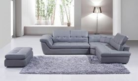 J&M 397 Italian Leather Sectional Sofa with Ottoman in Grey with Right Facing Chaise