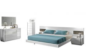 J&M Amora Premium Bedroom Set in White Lacquer