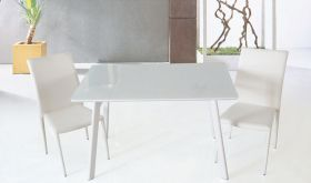 J&M B24 Modern Dining Table in White Lacquer