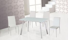 J&M B24 Table & DC-13 Chair Dining Set in White