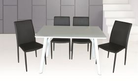 J&M B24 Table & DC-13 Chair Dining Set in White & Black