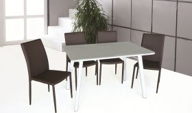 J&M B24 Table & DC-13 Chair Dining Set in White & Brown