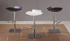 J&M C159-3 Swivel Barstools in White, Black & Brown