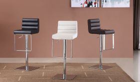 J&M C192-3 Swivel Barstools in White, Black & Brown