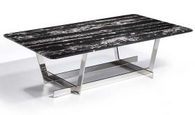 J&M Carrara Moden Marble Coffee Table in Black Marble