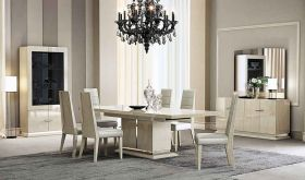 J&M Chiara Modern Dining Room Set in Light Walnut High Gloss