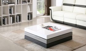 J&M CW01 Modern Rotary Coffee Table in White, Grey & Black