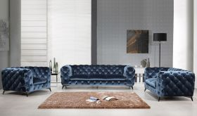 J&M Glitz Fabric Living Room Set in Blue