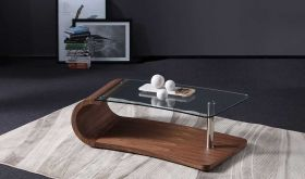 J&M Grace Modern Coffee Table in Warm Walnut Veneer