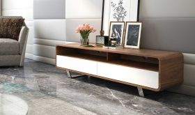 J&M Gramercy Premium TV Base in White & Walnut Veneer