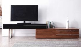 J&M Hudson Modern TV Base in Walnut & Black