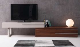J&M Hudson Modern TV Base in Walnut & Taupe