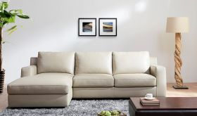 J&M Jenny Premium Leather Sectional Sofa Sleeper in Ivory with Left Facing Chaise