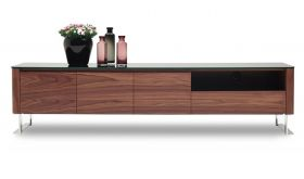 J&M Julian Modern TV Stand in Walnut Veneer