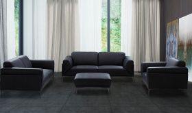 J&M Knight Modern Leather Living Room Set in Black