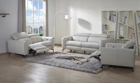J&M Lorenzo Motion Living Room Set in Light Grey