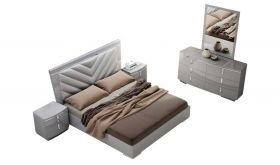 J&M New York Bedroom Set in Grey High Gloss
