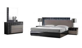 J&M Roma Modern Bedroom Set in Black & Grey Lacquer