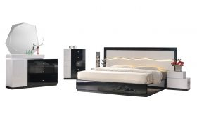 J&M Turin Modern Bedroom Set in Black & Light Grey