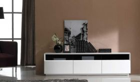 J&M TV023 Modern TV Stand in White High Gloss