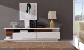 J&M TV061 Modern TV Stand in Light Walnut & White Lacquer