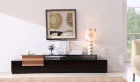 J&M TV072 Modern TV Stand in Black Lacquer & Light Walnut