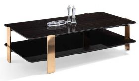 J&M Vegas Modern Coffee Table in Black & Rose Gold