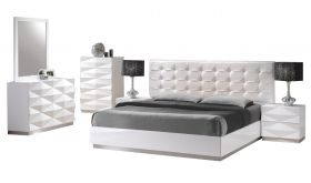 J&M Verona Modern Bedroom Set in White