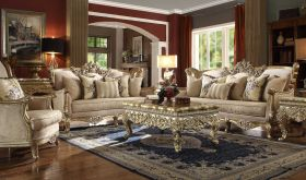 Jefferson Traditional Living Room Set in Metallic Bright Gold