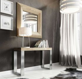Jerez Modern Console Table in Oak & Old Silver