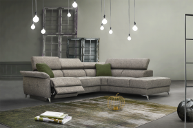 Justin Modern Sectional Sofa with 1 Electric Recliner in Grey