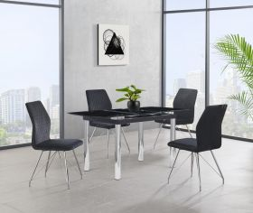 Justin Modern Dining Room Set in Black/Silver & Black