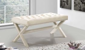 Kai Contemporary Velvet Bench in Cream