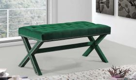 Kai Contemporary Velvet Bench in Green