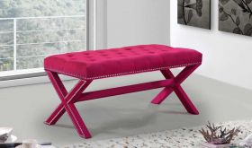 Kai Contemporary Velvet Bench in Pink
