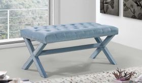Kai Contemporary Velvet Bench in Sky Blue
