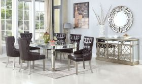Kansas Contemporary Dining Room Set in Dark Brown & Silver