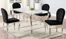 Kapaa Casual Dining Room Set in White/Polished SS & Black