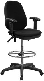 Black Multi-Functional Ergonomic Drafting Chair with Adjustable Foot Ring and Height Adjustable Arms [KC-B802M1KG-ARMS-GG]