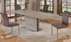Kenosha Casual Dining Room Set in Gray & Brushed SS